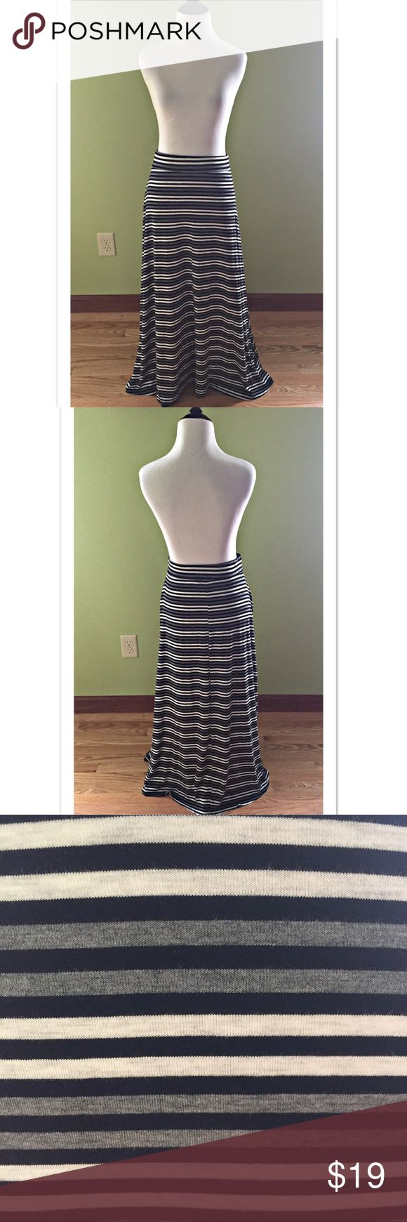 """Style & Co Striped Maxi Skirt Fun and easy Striped Maxi skirt from Style & Co. Pull on style, this skirt is 95% rayon; 5% spandex. Waist measures 15.5"""" across (unstretched); length 36"""". EUC Style & Co Skirts Maxi"""