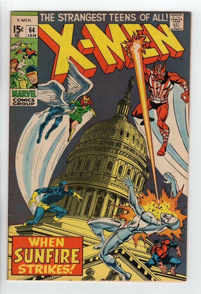X Men 64 Marvel 1970 Vf Nm 1st Sunfire Htf Rare See Scans Marvel Comics Covers Marvel Comics Superheroes Comics