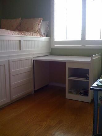 Pull out desk for study time, rolls under bed for storage