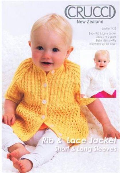 Crucci Rib & Lace Jacket Short & Long Sleeves Leaflet 1429