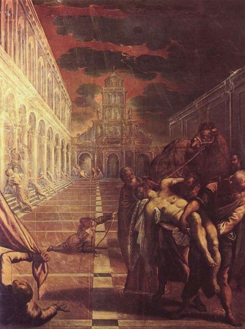 Jacopo Tintoretto.  Bergung des Leichnams des Hl. Markus. 1562-1566, Öl auf Leinwand, 421 × 306 cm. Venedig, Gallerie dell'Accademia. Venezianische Schule. Italien. Manierismus.  KO 00911