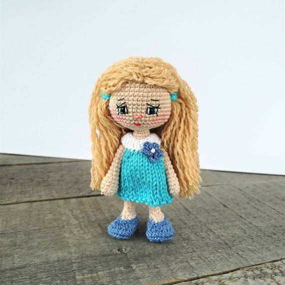 Crochet amigurumi girl doll in a pretty dress and bear hat ... | 570x570