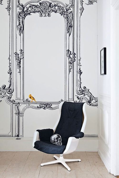 Baroque | Modern Chair | Baroque Wallpaper | Illustrated Wallcovering | Interiors