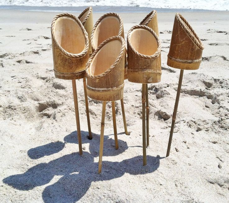 Bamboo Drink Holder Stakes For the Beach or Lawn - The Green Head