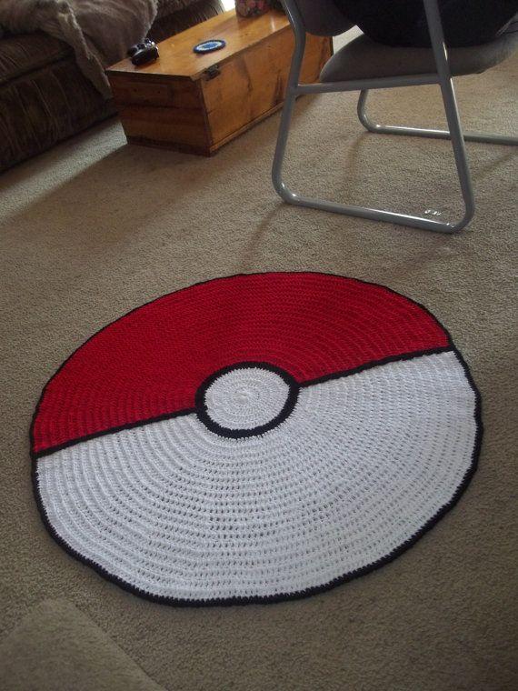 Giant Pokeball crochet rug by harmonden on Etsy