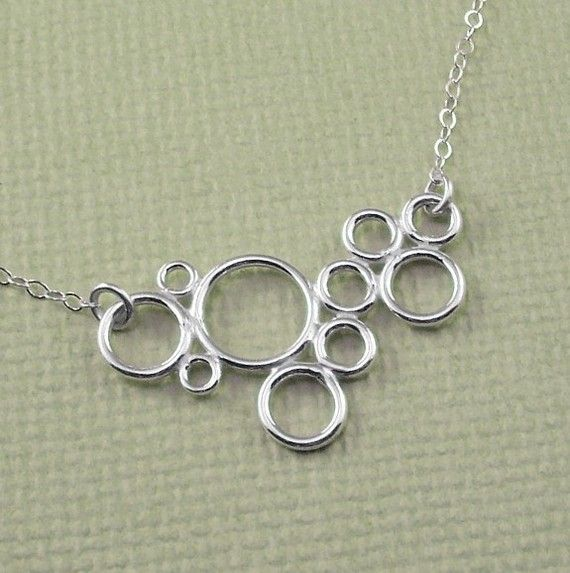 Sterling Silver Circles Necklace  Modern Simple by ZionShore