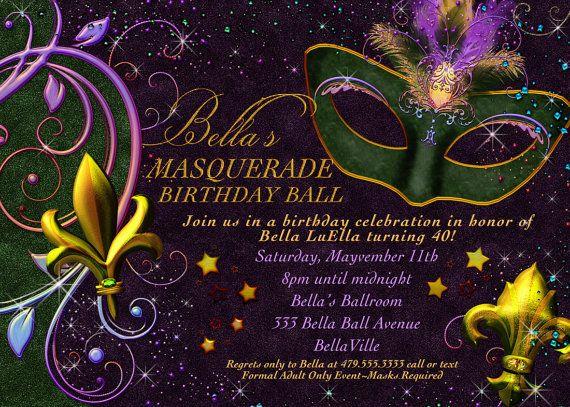 40 best invitations images on pinterest | mardi gras party, Invitation templates