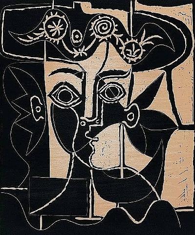 Grand Tête de Jacqueline au Chapeau Pablo Picasso (Spanish, 1881–1973) 1962 Linoleum cut printed in colours