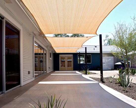 Amazing Backyard Shade Sails For Modern Patio : Cute White Backyard Shade Sails Combined With Concrete Floor And White Wall Panel
