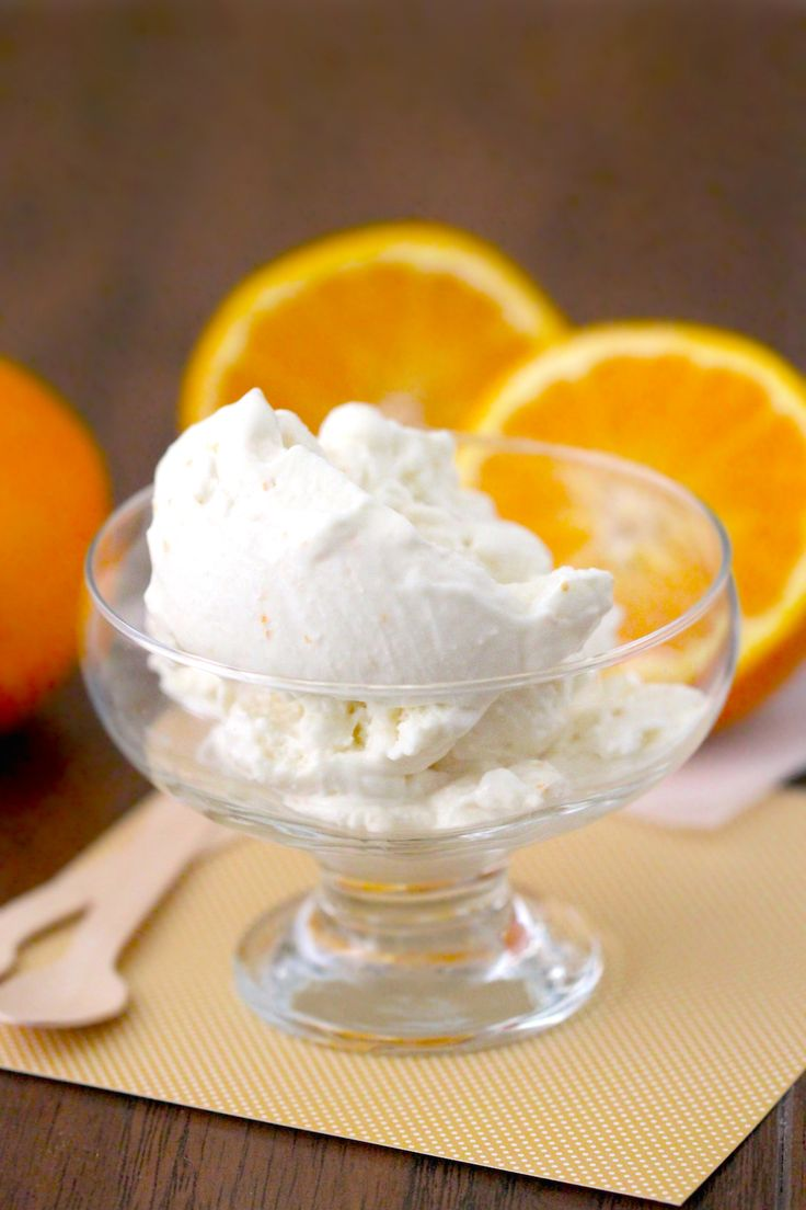 3-ingredient Low-Carb Orange Creamsicle Ice Cream -- totally rich, sweet, creamy and addicting, you'd never know it's sugar free, low fat and high protein... only 184 calories and 28g of protein!