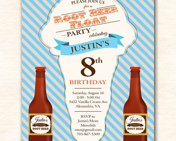 root beer float birthday party invitation      by