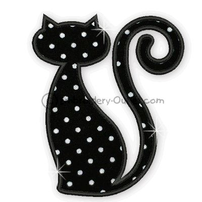 Cat Applique Designs | Applique Black Cats - For a 5 x 7 Hoop