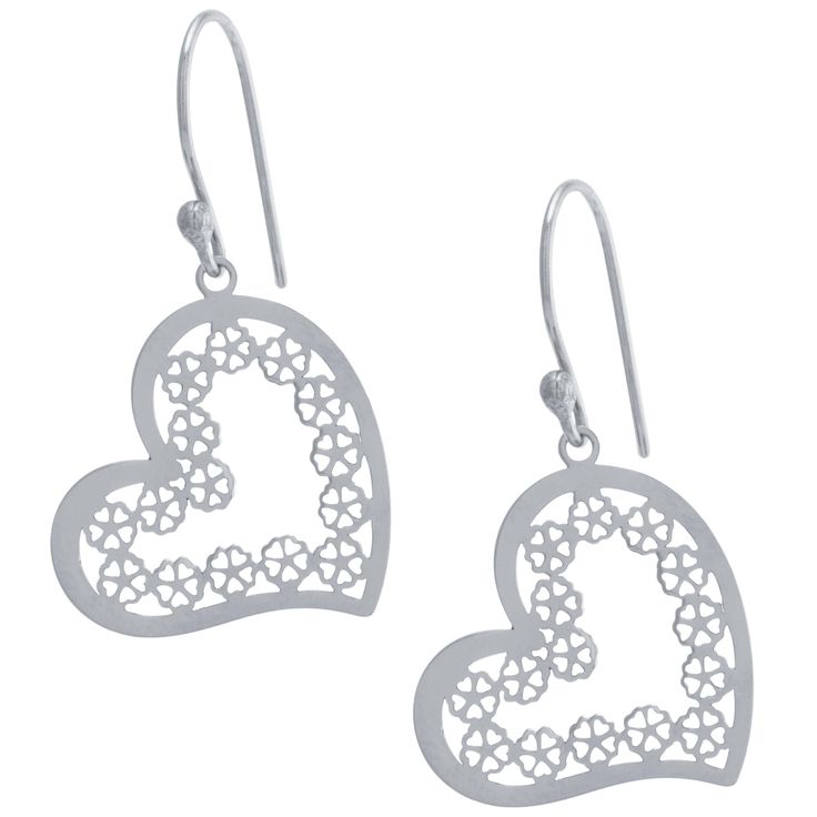 Athra Luxe Collection Sterling Silver Filigree Heart Drop Earrings