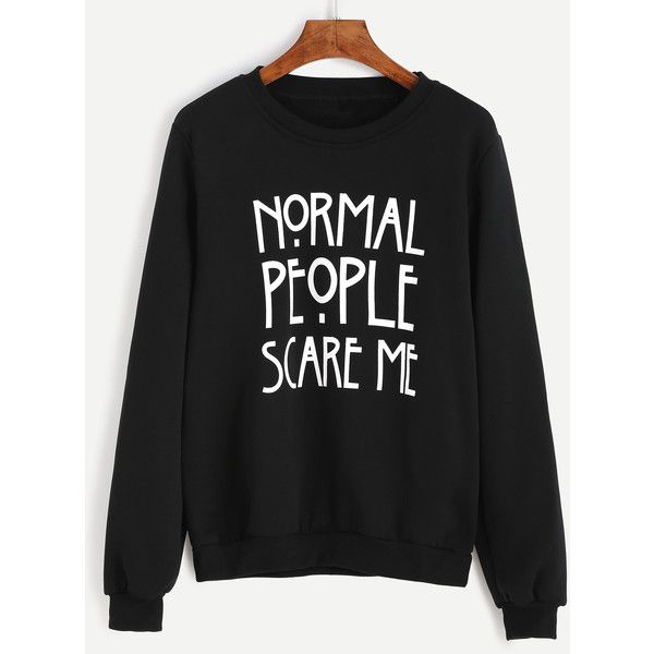 SheIn(sheinside) Black Letter Print Sweatshirt ($12) ❤ liked on Polyvore featuring tops, hoodies, sweatshirts, print top, long sleeve stretch top, stretchy tops, long sleeve tops and pullover sweatshirt