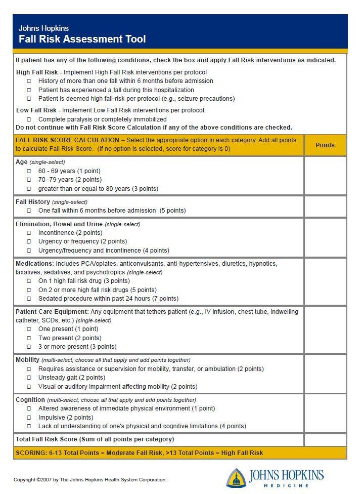 Johns hopkins fall risk assessment tool ijhn learning