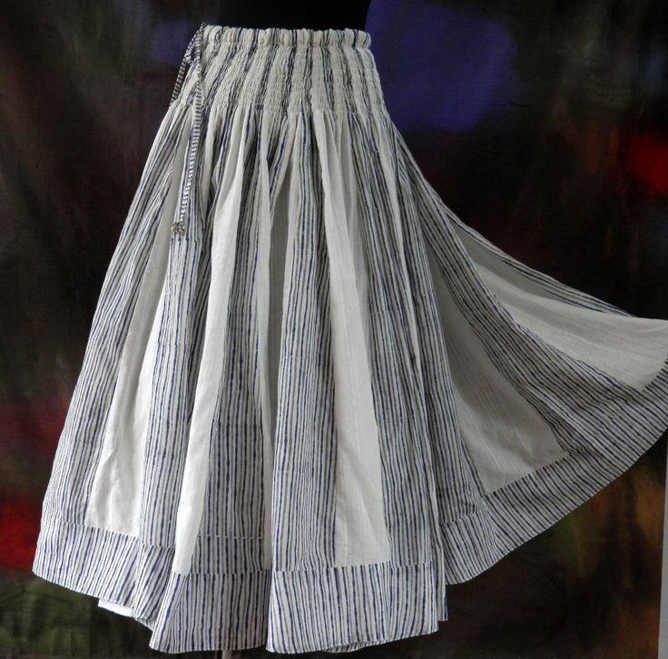Jupe longue à rayures bleues et blanches en coton avec écharpe assortie : Jupe par akkacreation