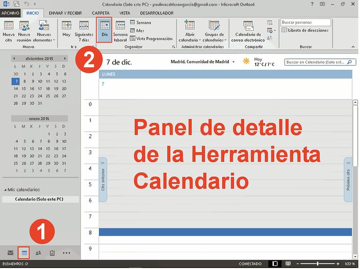 Panel de detalle vista Calendario