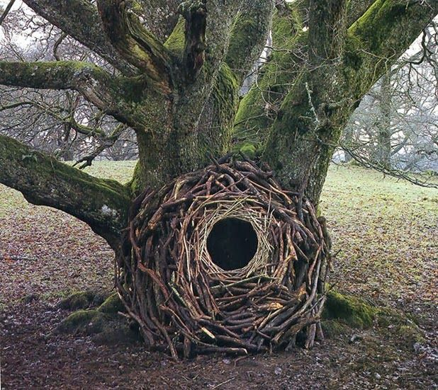 Andy Goldsworthy - Andy Goldsworthy created openings in many of his site-specific artworks