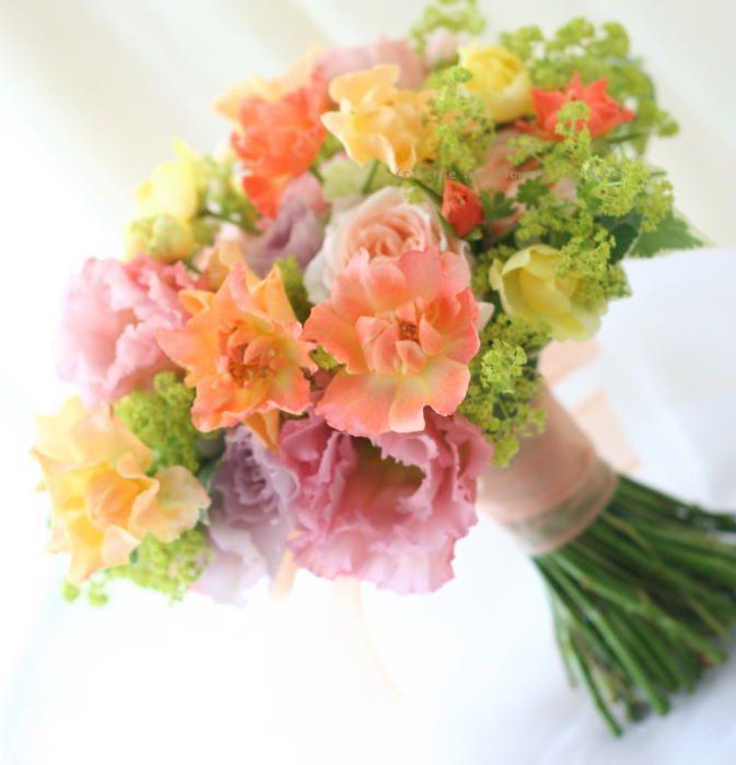 ブーケ クラッチ ミックスカラーオレンジ : 一会 ウエディングの花