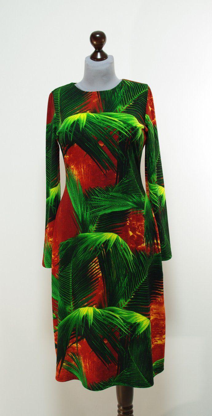 Рыже-зеленое платье клеш | Платье-терапия от Юлии