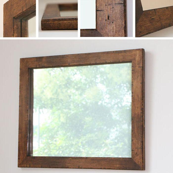 パイン材を古材風に仕上げた木枠の鏡M