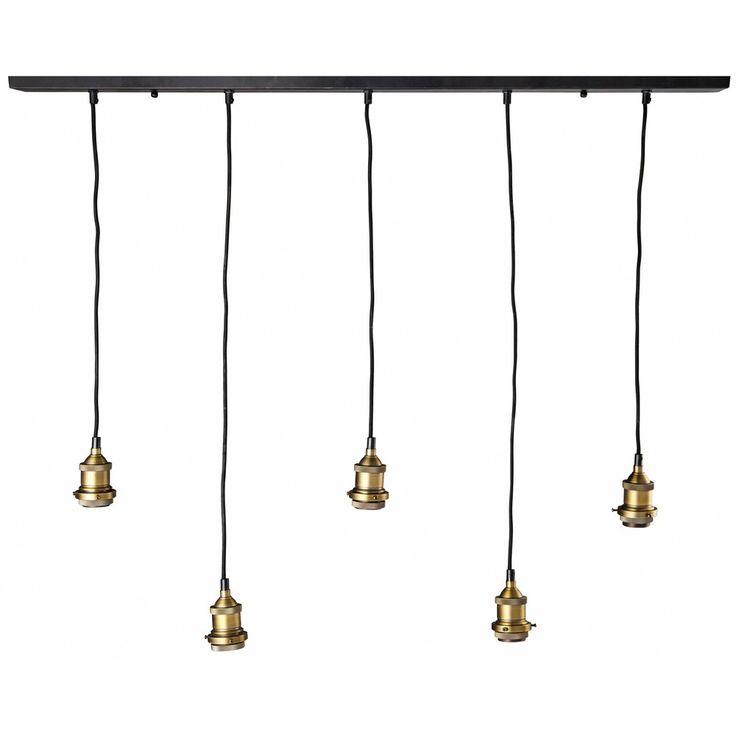 Suspension 5 ampoules en m tal noir et bronze for Ampoule suspension