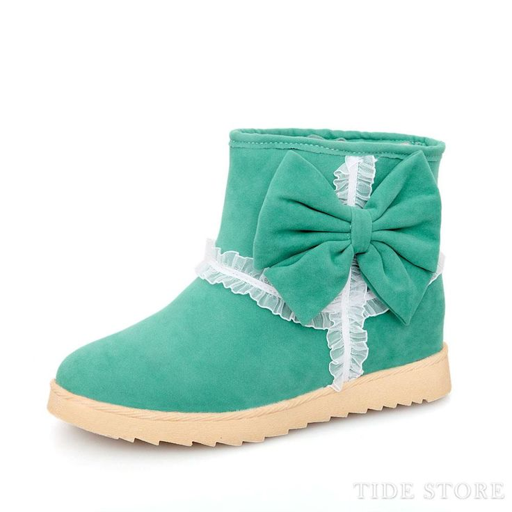 Good-Looking Wool Inner Bowknot Green Women's Boots: tidestore.com