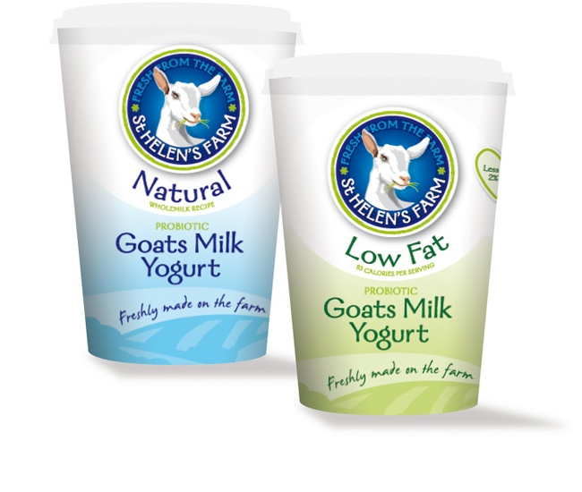 Natural and Low Fat Goat's Yogurt Packaging
