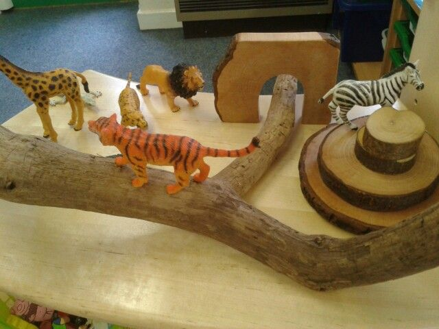 My classroom small world jungle using loose parts