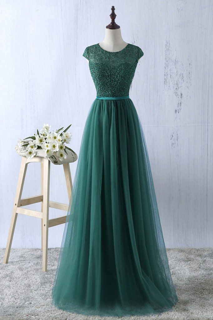 Green tulle lace top round neck long evening dresses ,simple formal dress