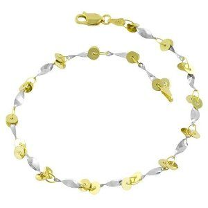 14 Karat Yellow & White Gold Swirl Anklet (9 inch) Kooljewelry. $214.99. This 14 karat gold anklet makes a great gift idea for any occasion. Crafted in 14 karat gold. Weighs 3.1 gram(s). Comes with a comfortable lobster claw clasp closure