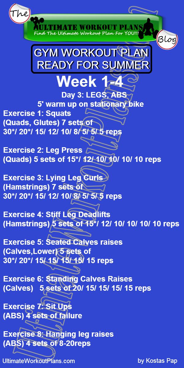 GYM WORKOUT PLAN READY FOR SUMMER MEN DAY 3 LEGS ABS » UltimateWorkoutPlans.com
