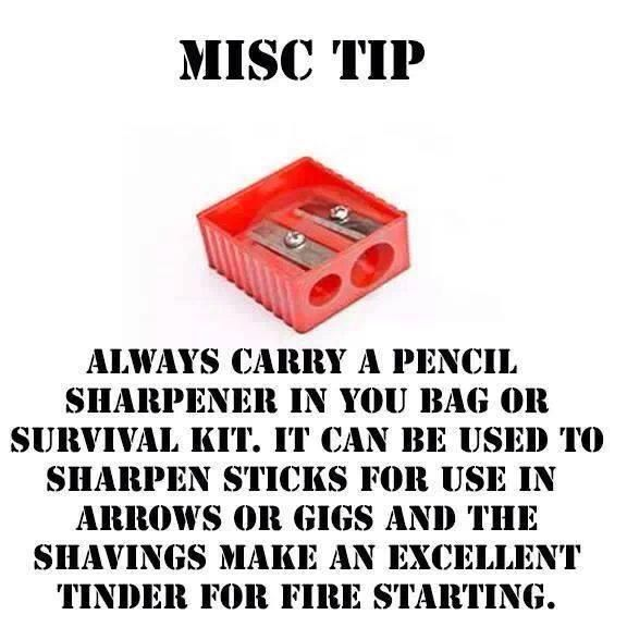 Always carry a pencil sharpener for Emergency prep or Camping.