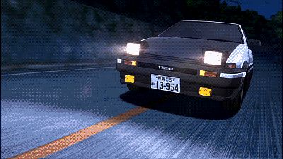 GIF. Night Battle. Initial D
