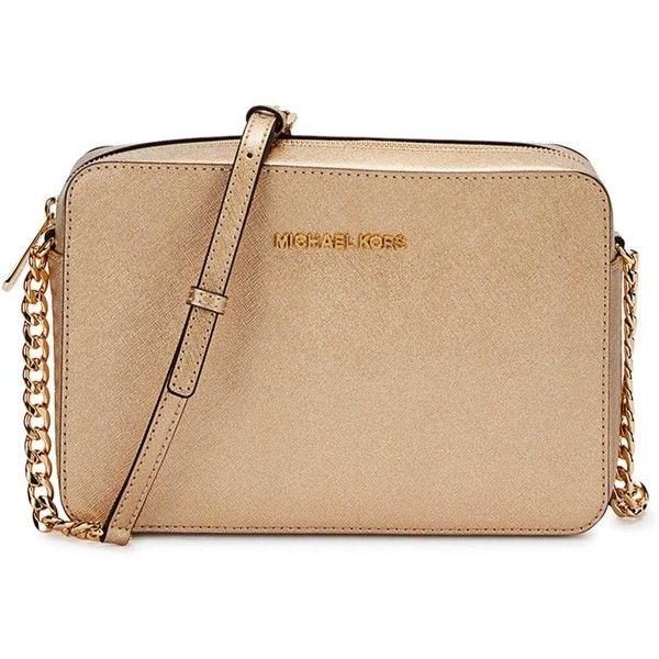 Womens Cross-body Bags Michael Kors Jet Set Gold Leather Cross-body.