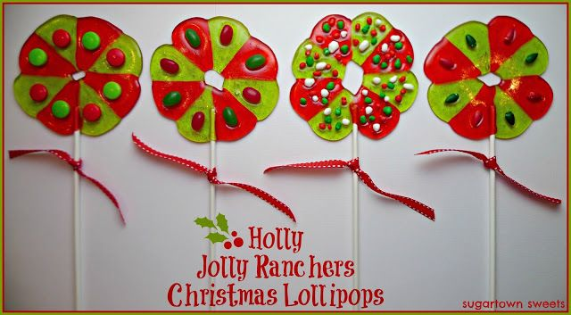 Sugartown Sweets: Holly Jolly Ranchers Christmas Lollipops. the directions are on the site. made with the candy. kids could do this one.