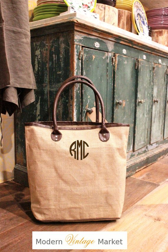 Custom Leather Personalized Bag The Cambridge tote Our classic {Faux} leather and jute tote with custom monogramming looks expensive and chic
