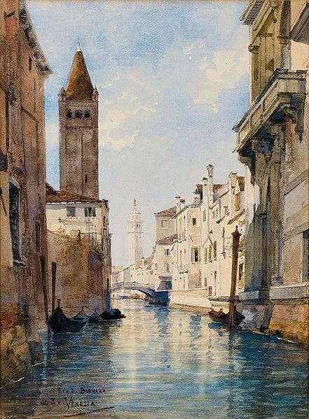 Venice In Art Rio San Barnaba Venice Oil On Canvas By
