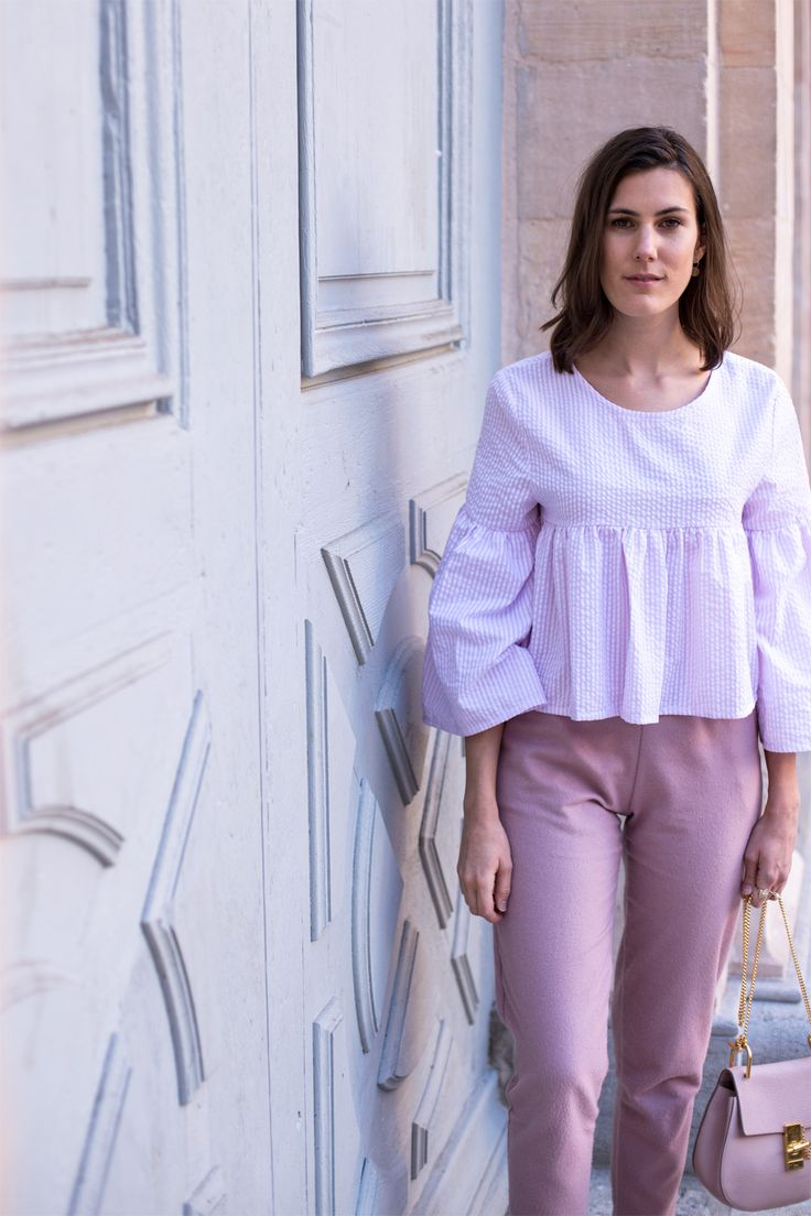 Peplum top made from recycled materials and made in France  trousers | sustainable look here | Margot from The Pastel Project