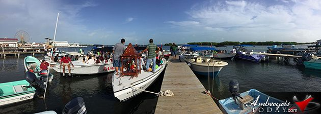 AmbergrisToday.com | Blessing of the boats at the end of the boat procession Dia de San Pedro | Ambergris Caye, Belize
