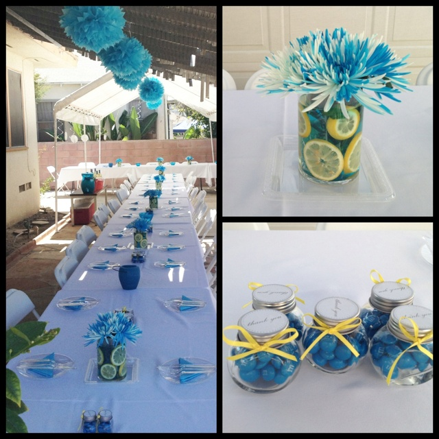 Outdoor baby shower decorations caribbean blue colors for Baby shower decoration ideas pinterest