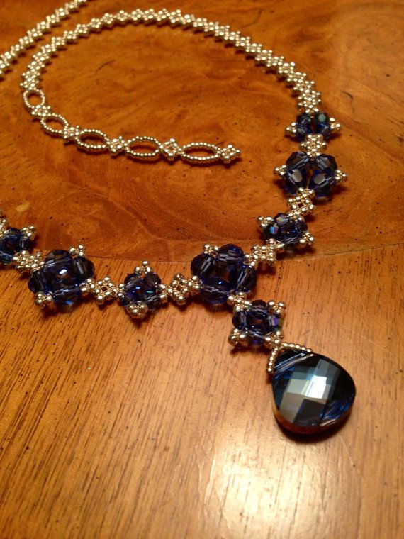 Blue Swarovski crystal beaded necklace blue by AmyKanarekDesigns.etsy.com