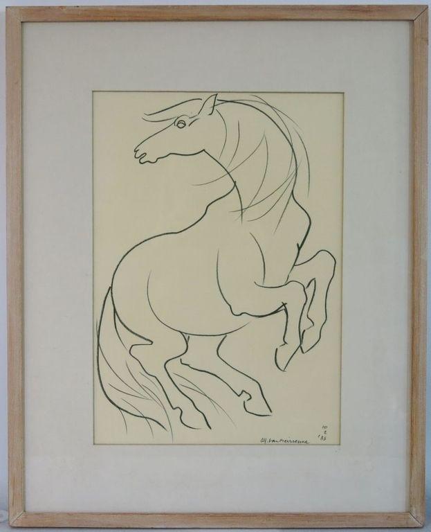 Alfons van Meirvenne: Krijttekening, Paard