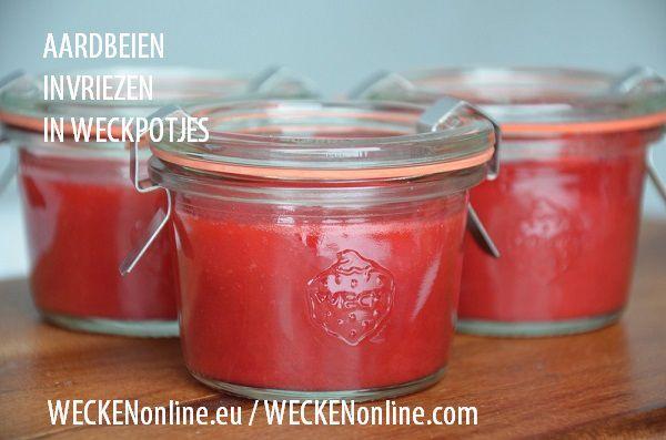 U kunt ook aardbeien invriezen in weckpotjes.U kunt met bevroren aardbeien drankjes en smoothies maken en veel meer.... zoals bijvoorbeeld een aardbeien-kwarktaart.