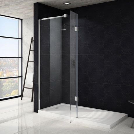 Saturn Wet Room Screen Enclosure with hinged return - 1400mm and 300mm - Victoria Plumbing - £239.89