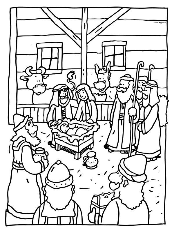 kleurplaat kerstfeest