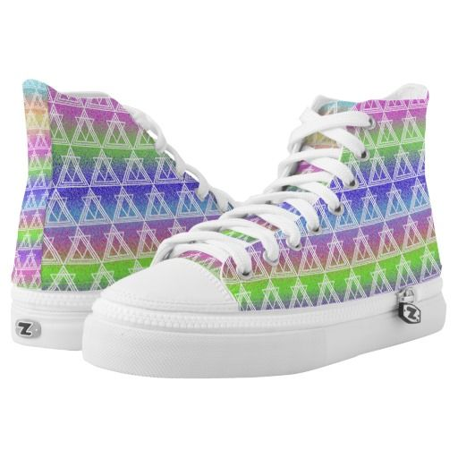 Colorful Geometric Pattern High-Top Sneakers