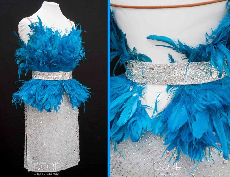 Silver Latin with Turquoise Goose Feathers All Over Bodice and Silver Belt