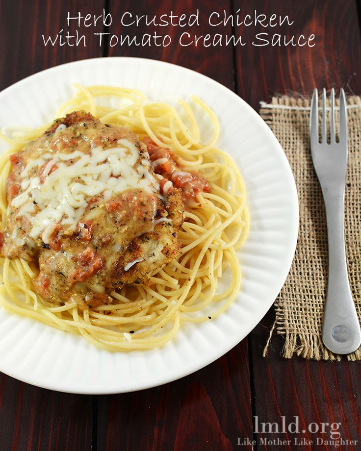 Enjoy this delicious Herb Crusted Chicken topped with a Creamy Tomato Sauce for dinner on a regular weeknight or for a special occasion. This is some of the best chicken I've ever had! #lmldfood
