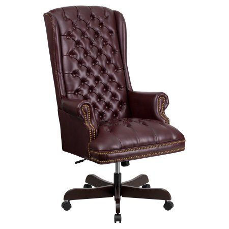 Flash Furniture High Back Traditional Tufted Leather Executive Swivel Office Chair, Multiple Colors, Red
